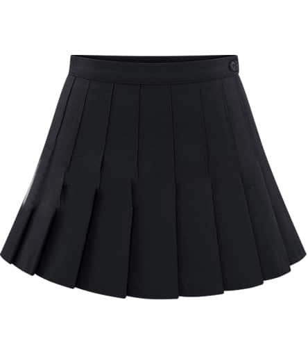 button pleated black skirt