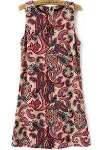 Sleeveless Cashews Print Slim Dress