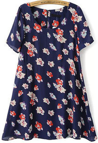 Floral Print Slim Blue Dress