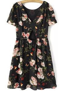Floral Print Backless Chiffon Dress