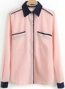 Contrast Lapel Chiffon Pink Blouse