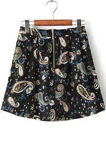 Cashews Print Zipper Skirt