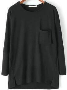 Pockets Loose Black T-shirt