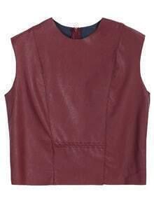 PU Leather Wine Red Vest