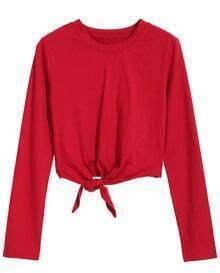 Crop Long Sleeve Red T-shirt