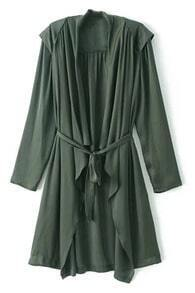 Self-tie Drawstring Pleated Trench Coat