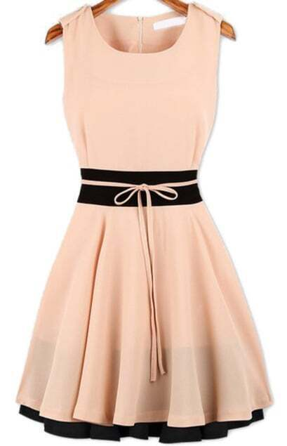 Sleeveless Pleated Flare Pink Dress pictures