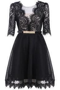 Lace Sheer Mesh Bead Dress