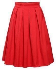 High Waist Pleated Red Skirt