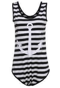 Striped Anchors Print Slim Swimwear