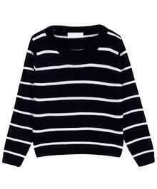 Striped Crop Knit Black Sweater