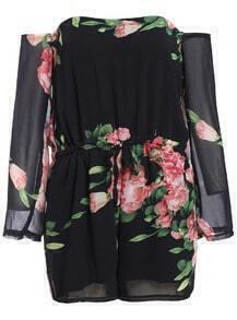Off-shoulder Floral Chiffon Jumpsuit