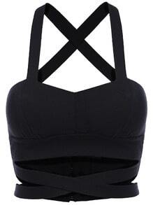 Criss Cross Hollow Crop Black Cami Top