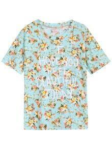 Floral Letters Print Green T-Shirt
