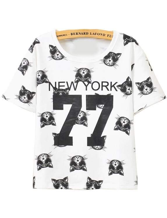 Cat NEW YORK 77 Print T-Shirt