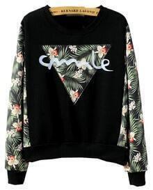 Leaves Print Embroidered Loose Black Sweatshirt