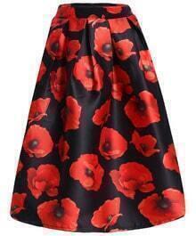 Floral Print Midi Flare Skirt