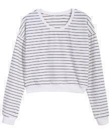 Round Neck Striped Crop T-Shirt