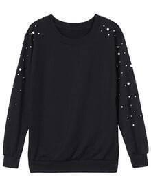 Bead Loose Black Sweatshirt