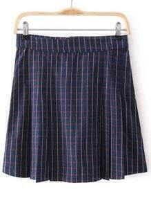 Check Print Pleated Skirt
