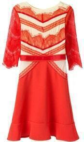 Lace Flouncing Orange Dress