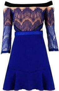 Boat Neck Lace Flouncing Dress