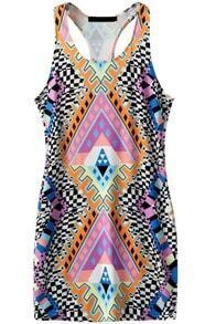 Y-Back Geometric Print Bodycon Dress
