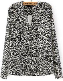 Leopard Print Loose Blouse