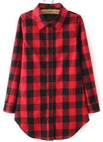 Check Print Loose Red Blouse
