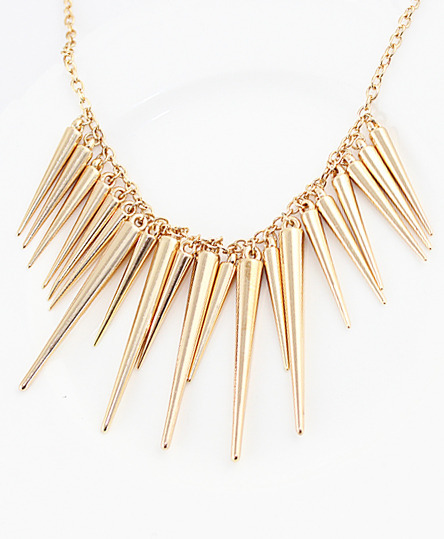 Exaggerate gold plated spike necklacefor women romwe for Is gold plated jewelry worth anything