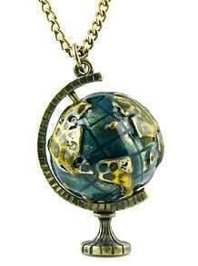 Retro Gold Globe Telescope Necklace