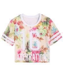 Floral 16 Print Crop T-Shirt
