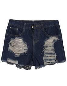 Ripped Pockets Denim Navy Shorts