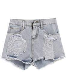 Ripped Pockets Denim Blue Shorts