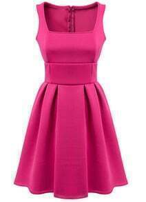 Sleeveless Pleated Slim Pink Dress