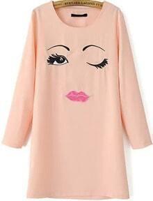Face Embroidered Chiffon Dress