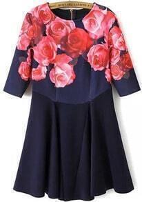 Floral Print Half Sleeve Flouncing Dress