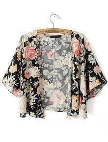 Floral Print Half Sleeve Loose Kimono