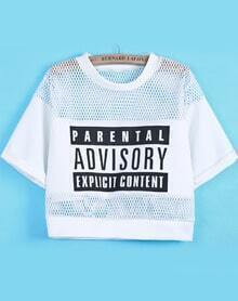 Hollow Mesh Yoke Letters Print White T-Shirt