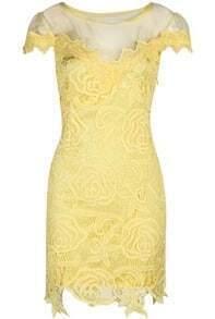 Hollow Lace Yellow Dress