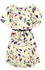 robe imprimé oiseaux manche chauve-souris -abricot