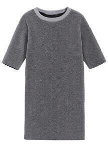 Round Neck Straight Grey Dress