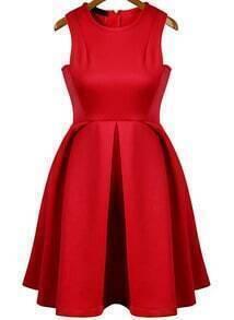 Sleeveless Pleated Flare Dress