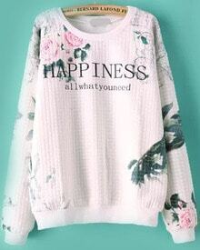 HAPPINESS Print Loose Sweatshirt