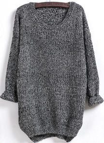 Dipped Hem Loose Knit Black Sweater