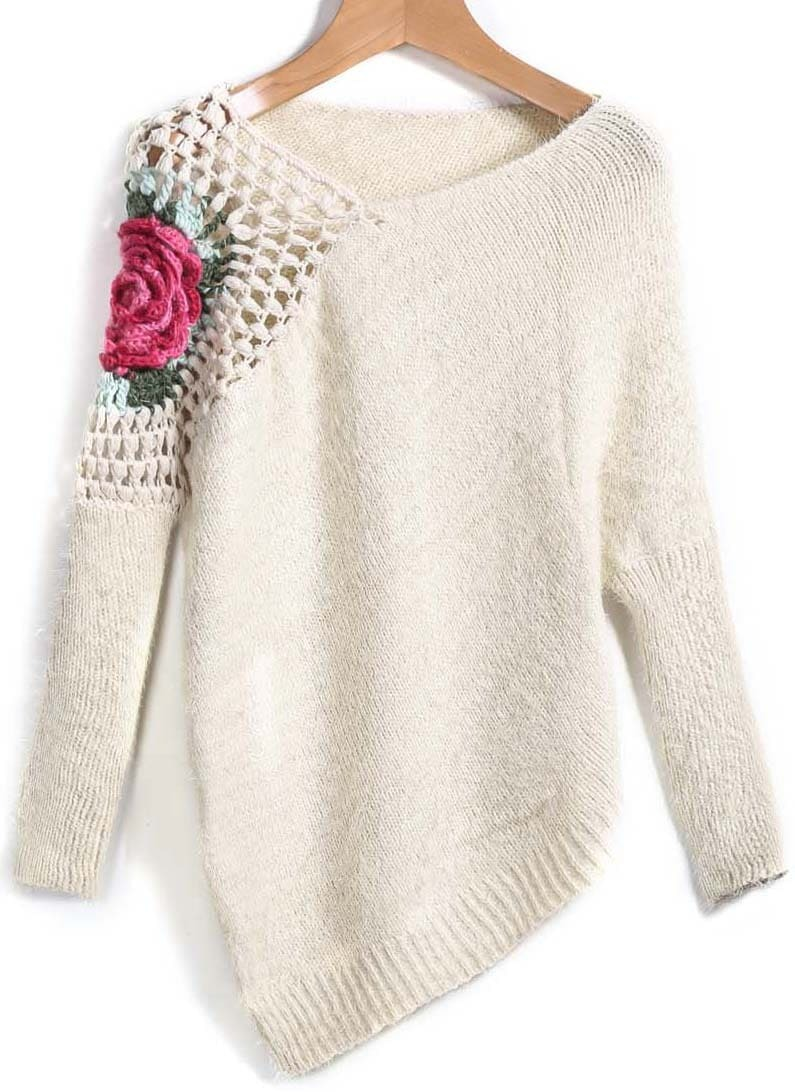 Crocheting Sweaters : Floral Crochet Loose Sweater
