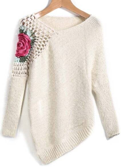 Floral Crochet Loose Sweater