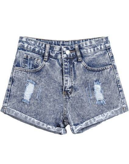 Ripped Flange Denim Shorts pictures