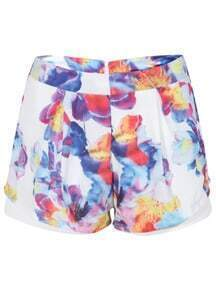 Floral Print Double Layers Shorts