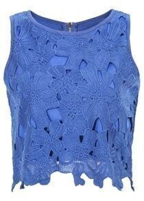 Sleeveless Hollow Lace Blue Tank Top
